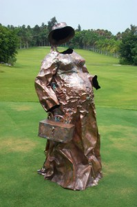 The goddess 61 x 35 x 31 in Copper sheet welding & embossing
