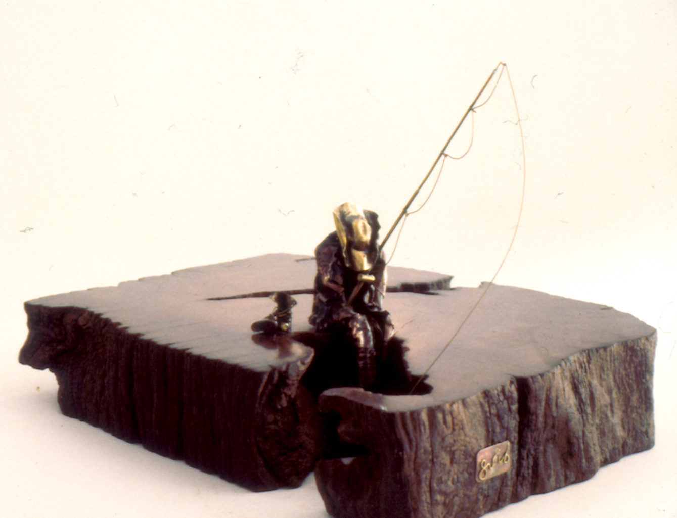 Fisherman 5 x 6 x 9 in Copper, brass sheet welding & embossing on wood