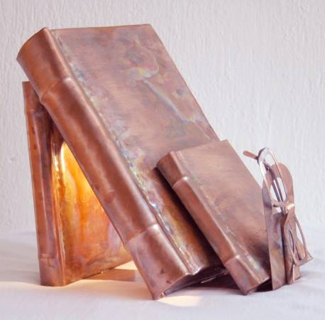 Lesson Light welded and embossed copper sheets